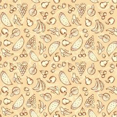 Vintage sketched fruits seamless pattern