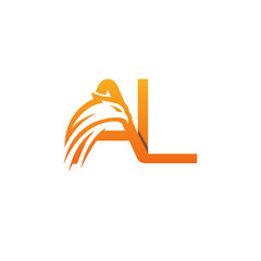Vector Orange Eagles Face Initial A L Logo