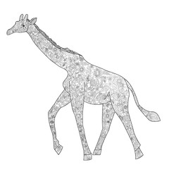 A giraffe coloring book for adults vector