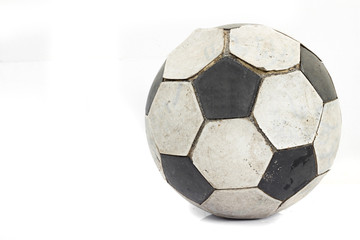 Used old soccer ball isolated on white background with.