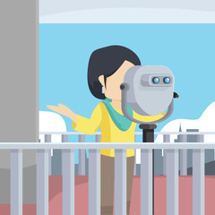 woman seeing through binocular