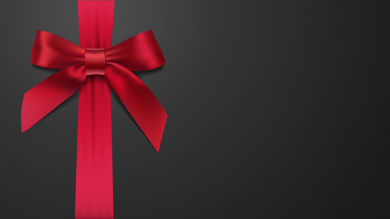 realistic red bow on a black background