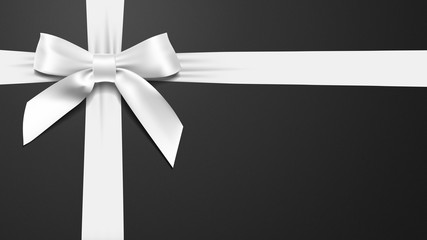realistic White bow on a black background