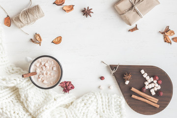 Autumn. Hot chocolate, knitted blanket, gift, dried flowers and autumn leaves. Flat lay, top view