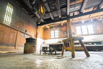 The Chinese traditional house inside, old village in Pingan, Longji, Longsheng, Yangshuo, Guangxi, China.