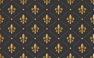 seamlessly tiling fleur de lis pattern - golden french royal symbol on a dark grey background, wallpaper design