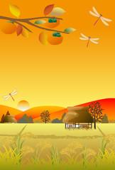 日本の田舎の秋の風景