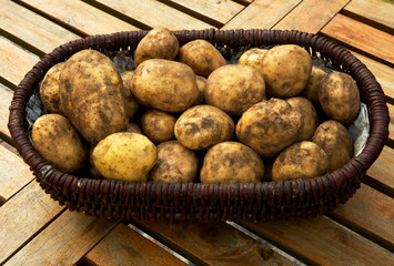 A basket full of potatoes