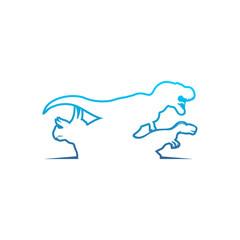 Modern Dinosaurs Line Logo Vector Image Icon