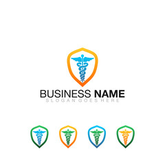 Modern Pharmacy Shield Logo Vector Image Icon Corporate Company