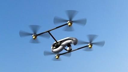 Drone Quadrocopter UAV in flight - 3d rendering