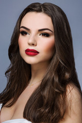 Beautiful model with red lips
