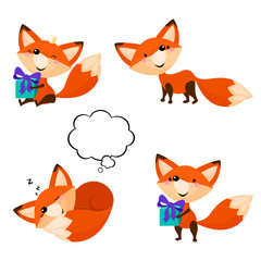 Cute cartoon foxes set. Funny foxes in different poses. Children's vector illustration