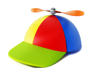 Multi colored hat with propeller isolated on white background. 3D illustration Wall mural