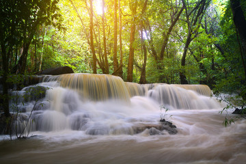 Papiers peints Kaki A beautiful view of Huay Mae khamin waterfall at Kanchanaburi province in Thailand. traveling and attractions concept