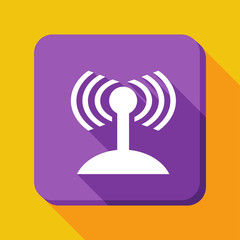 Wi-Fi.Flat image with a long shadow isolated on yellow background.Internet icon to use in web and mobile UI