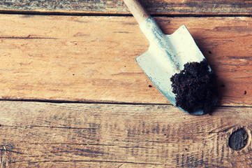 Gardening spade on wooden table