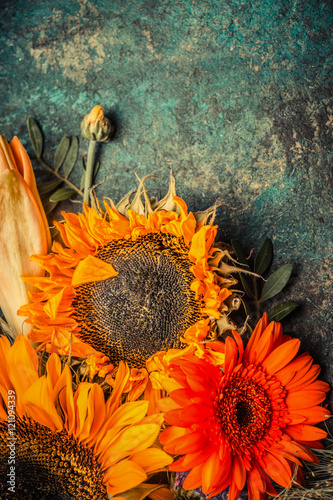 Autumn Flowers Bunch With Sunflowers On Dark Rustic Background Top View Border