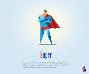 Vector illustration of super hero, origami style icon