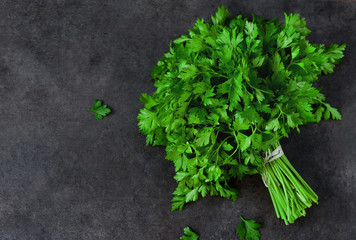 Bunch of parsley isolated on a black background