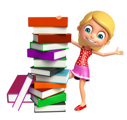 kid girl with  Bookstack