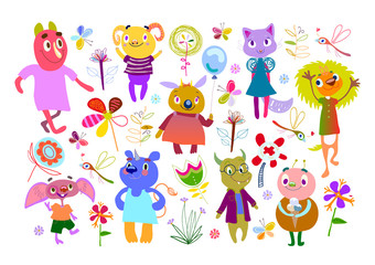 Set of Monsters, Flowers, Butterflies, Dragonflies. Funny Cartoon fantastic creatures. Cute fabulous incredible characters for children's design collection. Big bundle elements isolated on white.