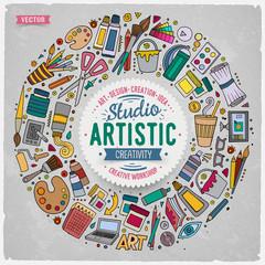 Set of Art cartoon doodle objects, symbols and items