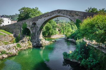 Old Roman stone bridge in Cangas de Onis