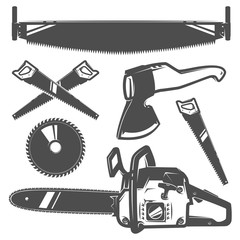 Set of woodman for t shirt and tattoo lumberjack vinage style,emblems and logo.