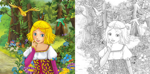 cartoon scene with princess in the forest - illustration for children