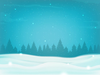 Beautiful winter landscape background with winter tree silhouette. Vector