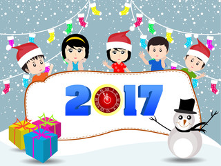 Merry christmas and Happy new year 2017 with funny kids