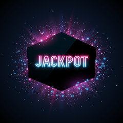 Jackpot advertisement template. Colorful dust on dark background