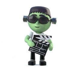 3d Child frankenstein monster making a movie