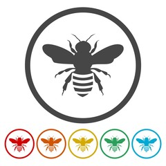 Bee circle buttons. Honey bees icons.