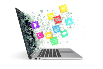 Laptop with color application icons. 3d illustration