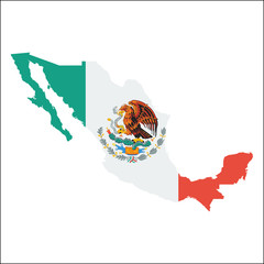 Mexico high resolution map with national flag. Flag of the country overlaid on detailed outline map isolated on white background.