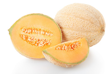 Cantaloupe melon section and slice isolated on white, clipping p