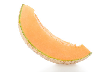 Cantaloupe melon single slice isolated on white, clipping path