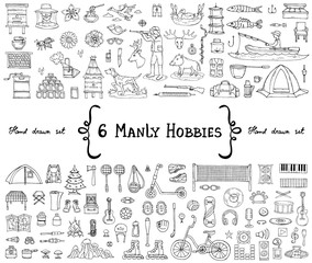 Vector set with hand drawn isolated doodles on the  theme of 6 manly hobbies. Symbols of beekeeping, hunting, fishing, sports, tourism, music. Sketches for use in design
