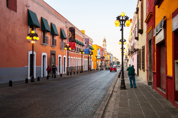 Morning streets in Puebla de Zaragoza, Mexico