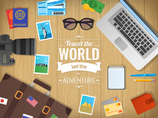 Travel concept vector illustration. Web banner. Objects on wooden background. Travel and Tourism. Flat design