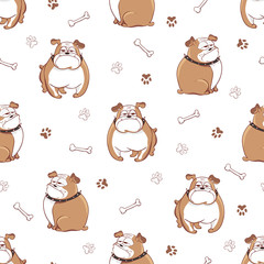 Cute cartoon dogs seamless pattern. Vector background with doodle bulldogs.