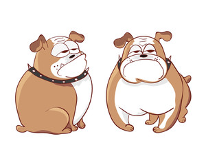 Cute cartoon dog isolated on white. Vector illustration of doodle bulldog.