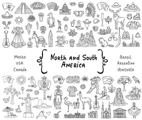 Vector set with hand drawn isolated doodles on the  theme of North and South America