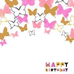 Happy Birthday card design with watercolor pink and glittering golden butterflies. Vector celebration background.