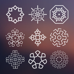 Sacred geometry. Alchemy, religion, spirituality symbols and elements. Set of vector elements on the blurred background