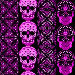 Seamless Gothic Pattern With Color Hand Drawn Skulls And , Boho strips ,  tribal, texture