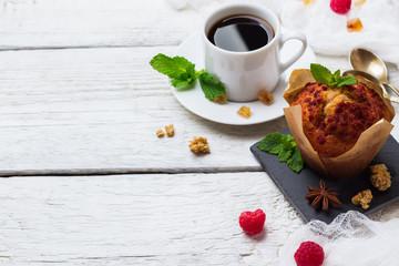 Breakfast concept. Coffee berries homemade cake