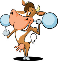 funny strong health fitness cow lift weights cartoon - vector illustration